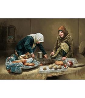 نخ و نقشه تابلو فرش ایرانی کد 27- زنان نان پز