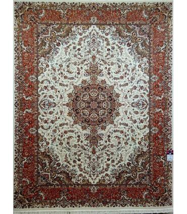 فرش ماشینی زمرد مشهد طرح 30000 کرم حاشیه پیازی