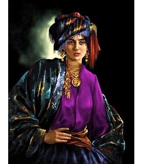 نخ و نقشه تابلو فرش ایرانی کد 37- دختر کرد