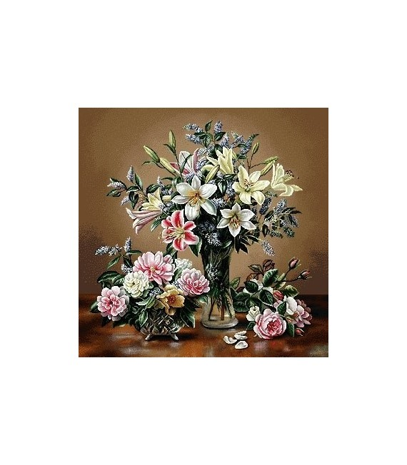 نخ و نقشه تابلو فرش کد 25 طرح گلدان شیشه ای
