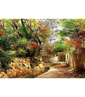 نخ و نقشه تابلو فرش طرح پاییز در کوچه باغ