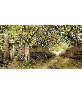 نخ و نقشه تابلو فرش طرح کوچه باغ خاطره