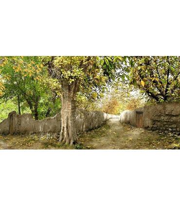تابلو فرش دستباف کد 39 طرح تک درخت در کوچه باغ