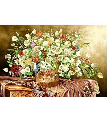 تابلو فرش دستباف کد 16 طرح گل های رویایی