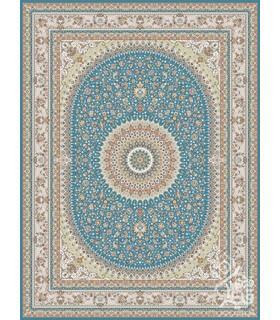 فرش ماشینی قیطران طرح الیا آبی نقره ای گل برجسته