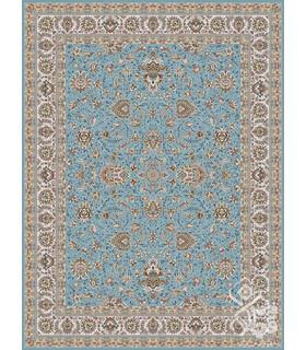فرش ماشینی قیطران طرح فرناز آبی نقره ای گل برجسته
