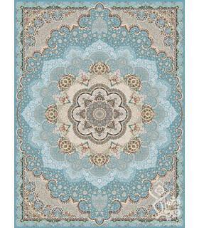 فرش ماشینی قیطران طرح گلپری آبی نقره ای گل برجسته