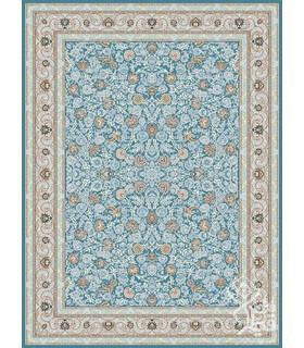 فرش ماشینی قیطران طرح سایه آبی نقره ای گل برجسته