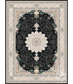 فرش ماشینی قیطران طرح انوشا سورمه ای گل برجسته