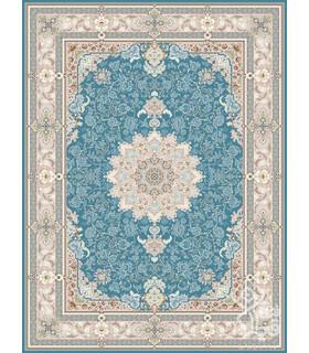 فرش ماشینی قیطران طرح انوشا آبی نقره ای گل برجسته