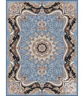 فرش ماشینی قیطران طرح مهتاب آبی نقره ای گل برجسته