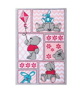 فرش کودک زرباف طرح خرس و خرگوش طوسى صورتى 150*100