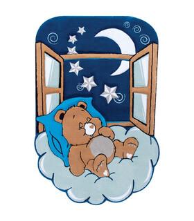 فرش کودک زرباف طرح خرس خوابالو آبى شكلاتى 150*100