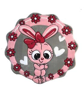 فرش کودک زرباف طرح خرگوش طوسى صورتى 100*100