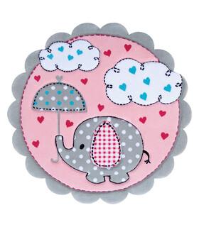 فرش کودک زرباف طرح فیل كوچولو طوسى صورتى 100*100