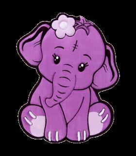 فرش کودک زرباف طرح فیل یاسی 100*80