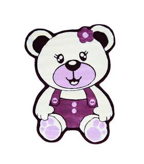 فرش کودک زرباف طرح خرس شیری بنفش 100*75
