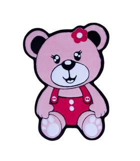 فرش کودک زرباف طرح خرس صورتى صورتى 100*75