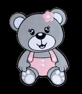فرش کودک زرباف طرح خرس طوسی صورتی 100*75