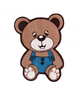 فرش کودک زرباف طرح خرس نسکافه ای آبی 100*75