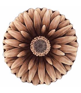 فرش سه بعدی زرباف طرح گل داوودی شكلاتى 100*100