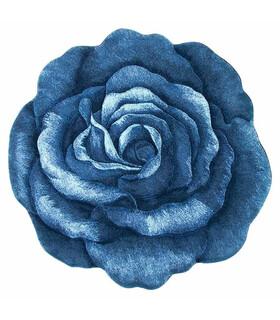 فرش سه بعدی زرباف طرح گل رز آبی 100*100
