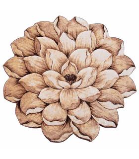 فرش سه بعدی زرباف طرح گل نیلوفر شكلاتى 100*95