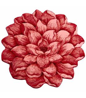 فرش سه بعدی زرباف طرح گل نیلوفر قرمز 100*95