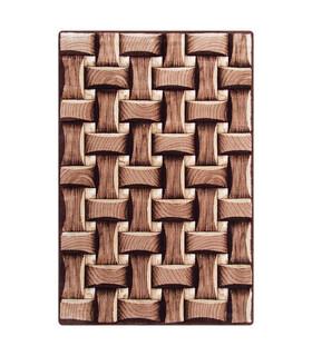 فرش سه بعدی زرباف طرح پارکت شكلاتى 150*100