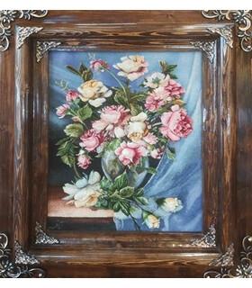 تابلوفرش دستباف طرح گلدان گل رز ثاقب (گل 72)