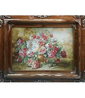 تابلوفرش دستباف طرح گلدان گل رز عرضی