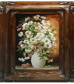 تابلوفرش دستباف طرح گلدان گل مردانی
