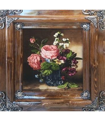 تابلوفرش دستباف طرح گلدان گل دل انگیز