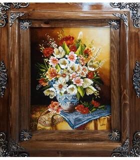 تابلوفرش دستباف طرح گلدان گل قدی جلیلی