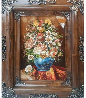 تابلوفرش دستباف طرح گلدان گل و رومیزی خوشبخت