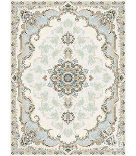 فرش ماشینی قیطران طرح آناهیتا کرم گل برجسته