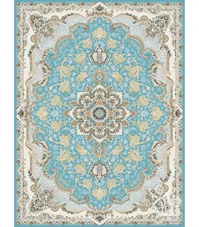 فرش ماشینی قیطران طرح آناهیتا آبی گل برجسته