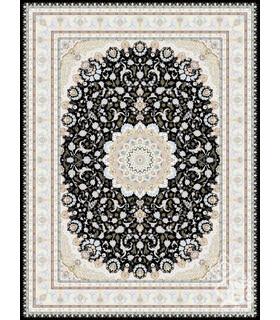 فرش ماشینی قیطران طرح نگار سورمه ای گل برجسته