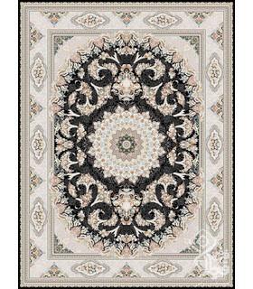 فرش ماشینی قیطران طرح قاصدک سورمه ای گل برجسته