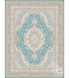 فرش ماشینی قیطران طرح اطلس آبی گل برجسته