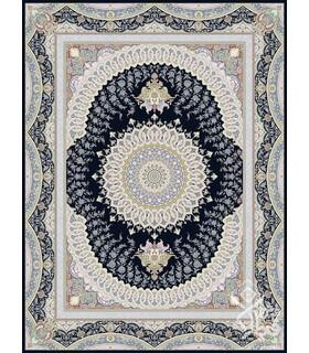 فرش ماشینی قیطران طرح هورام سورمه ای گل برجسته