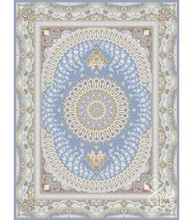 فرش ماشینی قیطران طرح هورام آبی نقره ای گل برجسته
