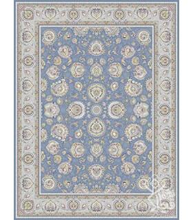 فرش ماشینی قیطران طرح یوتاب آبی نقره ای گل برجسته