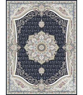 فرش ماشینی قیطران طرح گلچین سورمه ای گل برجسته