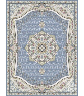 فرش ماشینی قیطران طرح گلچین آبی نقره ای گل برجسته