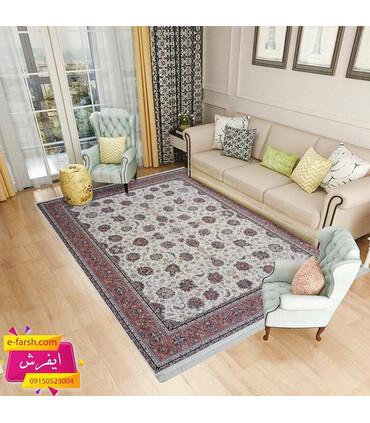فرش ماشینی زمرد مشهد طرح 25010 کرم با حاشیه پیازی
