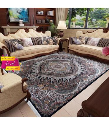 فرش ماشینی زمرد مشهد طرح 36002 سورمه ای