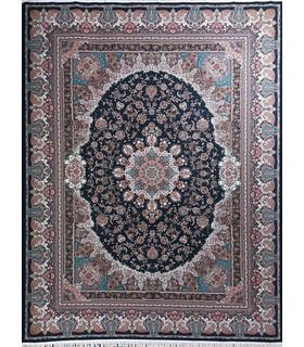 فرش ماشینی زمرد مشهد طرح 36006 سورمه ای
