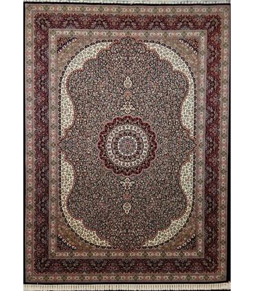 فرش ماشینی زمرد مشهد طرح 14010 سورمه ای