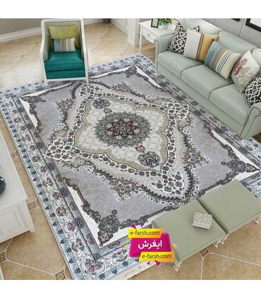 فرش ماشینی نگین مشهد طرح 1216 نقره ای گل برجسته